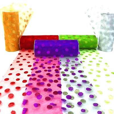 "Polka Dot Tulle Gift Ribbon Wedding Supply Tulle  6""*10yd roll 5 colors GQL"
