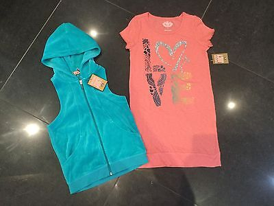 NWT Juicy Couture New & Genuine Girls Age 8 Velour Hoody & Peach Cotton Dress