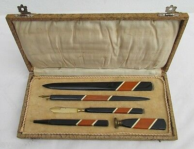 Superb Art Deco Writing Set, Wax Seal, Letter Opener & More, Bakelite & Lucite