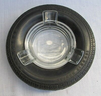 Very Nice Rare Goodyear Tire Ashtray, Traslucid Glass, Argentina, Vg, 3 Rest