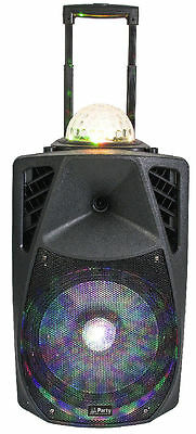 "Mobile PA-Anlage ""PARTY-15ASTRO"" Akku Sound Box mit LED/USB/SD/MP3/VHF/BT"
