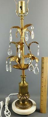 Hollywood Regency Italian Tole Gilt Leaves Crystal Prisms Marble Base Table Lamp