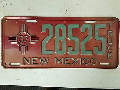 1937 NEW MEXICO Truck License Plate 28525