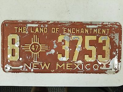 1947 NEW MEXICO Grant County The Land of Enchantment License Plate 8 3753