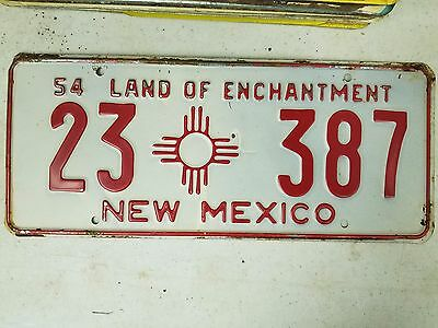 1954 NEW MEXICO Hidalgo County The Land of Enchantment License Plate 23 387