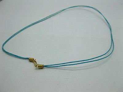 95 Blue 2-String Waxen Strings For Necklace Golden Clasp