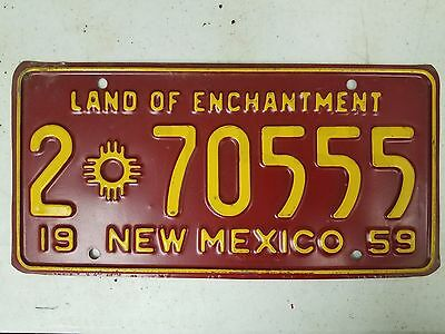 1959 NEW MEXICO Bernanlillo County Land of Enchantment License Plate 2 70555