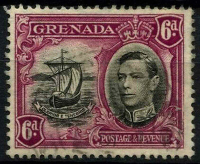 Grenada 1938-50 SG#159a, 6d Black & Purple KGVI P13.5xP12.5 Used #D52131