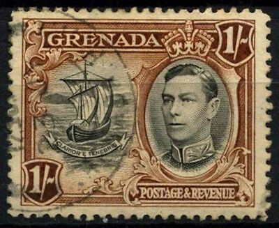 Grenada 1938-50 SG#160, 1s Black & Brown KGVI P12.5 Used #D52121