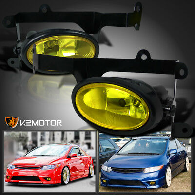For 2006-2008 Honda Civic 2Dr Coupe JDM Yellow Bumper Fog Lights Pair+Switch Kit