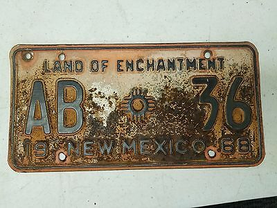 1968 NEW MEXICO Land of Enchantment License Plate AB 36
