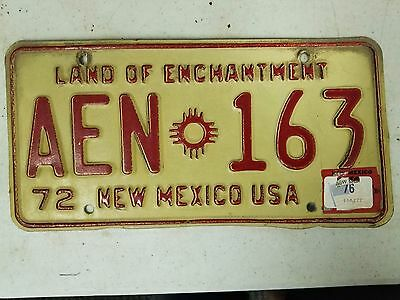 1972 (1976 Tag) NEW MEXICO Land of Enchantment License Plate AEN 163