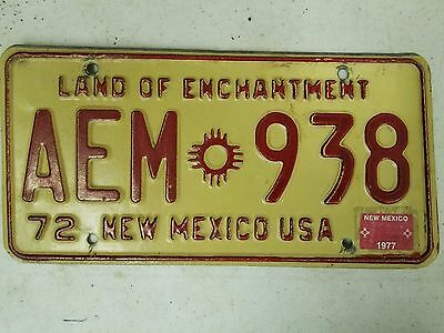 1972 (1977 Tag) NEW MEXICO Land of Enchantment License Plate AEM 938