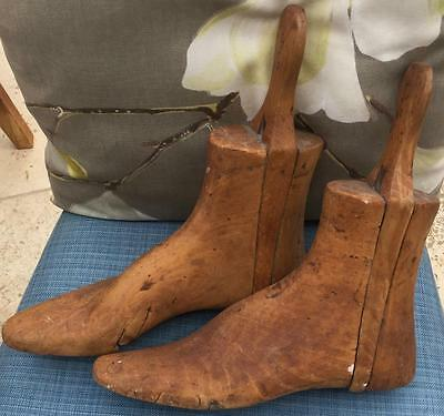 Antique Pair Wooden Shoe Lasts with Handles Thompson
