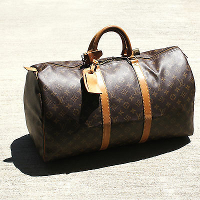 Authentic Louis Vuitton Monogram Keepall 50 Duffel Bag Unisex LV Travel Handbag