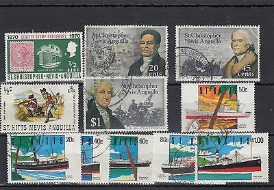 St.christopher/nevis/anguilla. 11 -- Qe2 Mounted Mint/ Used Stamps On Stockcard