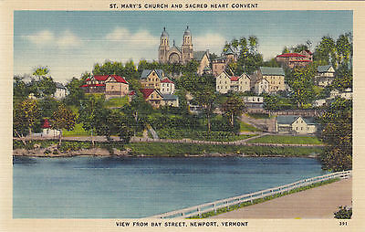 St Mary's Church & Scared Heart Convent NEWPORT Vermont USA 1930-45 American Art