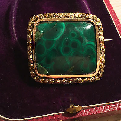 Antique, Victorian 9ct, 9k, 375 Gold Malachite Brooch Pin