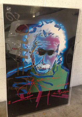 ALBERT EINSTEIN Pop Art style of Andy Warhol Peter Max Mixed Media in Shadow Box