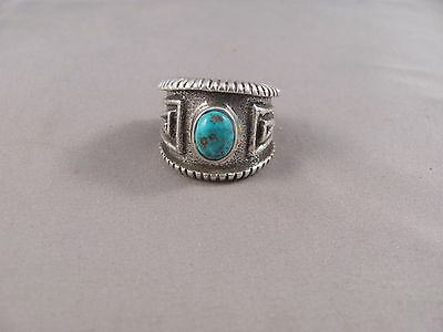 Navajo Tuffa Cast Sterling Silver Morenci Turquoise Ring by Edison Cummings
