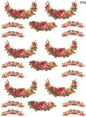 VinTaGe FLoRaL WReaTh SWaGs WaTerSLiDe DeCALs *ShaBby*