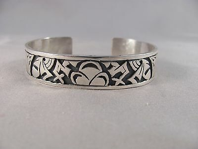 Hopi Sterling Silver Bracelet by Jason Takala Jr