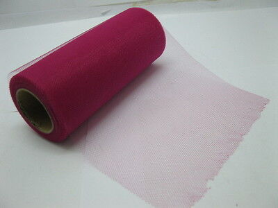 1Roll X 25Yard Tulle Roll 15cm Wedding Gift Bow-Fuschia