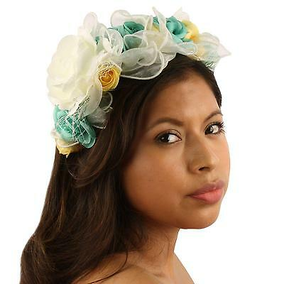 Pretty Flower Girl Bridal 10 Roses Floral Headband Fascinator Cocktail Hat Ivory