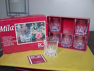 Set of 6 RCR Crystal 'MILA' Pattern/Cut Whisky Glasses in Original Box