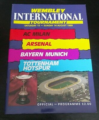WEMBLEY INTERNAIONAL TOURNEMENT PROGRAMME 1988 Tottenham Arsenal Bayern Milan