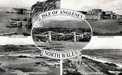 ISLE OF ANGLESEY Multiview Newry Beaumaris North Wales old Postcard unused