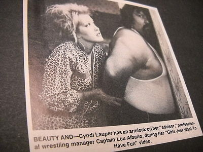 CYNDI LAUPER wrestles CAPTAIN LOU ALBANO original music biz promo pic with text