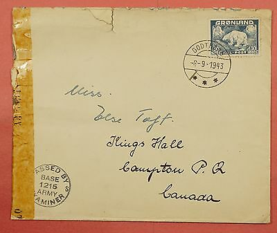 1943 Greenland Single Franked Cover To Canada Wwii Censored