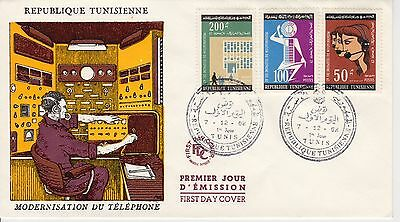 2 first day covers, Tunisia, Scott #429-434, Telephone Automation, 1962