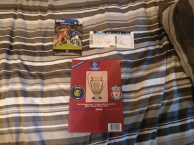 Inter Milan v Liverpool 07/08 Champions League Match Programme x 2 & Ticket