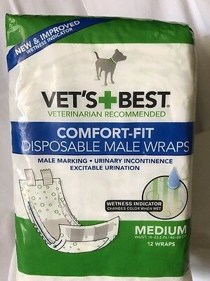 NEW Medium 12 Count Vets Best Comfort Fit Disposable Male Wraps Dog Diapers!