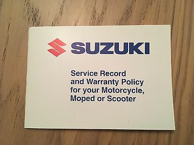 New Unused Suzuki Motorcycle Warranty Service Book Genuine Scooter Moped
