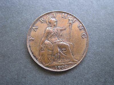 1900 Queen Victoria Farthing Coin - Some Lustre