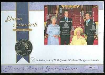 GREAT BRITAIN PHILATELIC NUMISMATIC 2000  100th BIRTH OF THE QUEEN MOTHER COVER