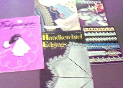 5 Vintage Booklets fo Lace Edgings Crochet, Tatting, Hairpin & Knit