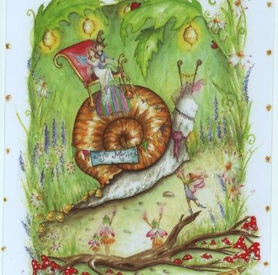 """Mint.! """"wedding Day!"""" Bride & Groom Ride Snail,fairies,collectible,greeting Card"""