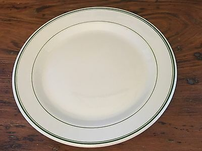 "Vtg Wellsville China Restaurant Ware 9-3/4"" Dinner Plate w Green Stripe Trim EUC"