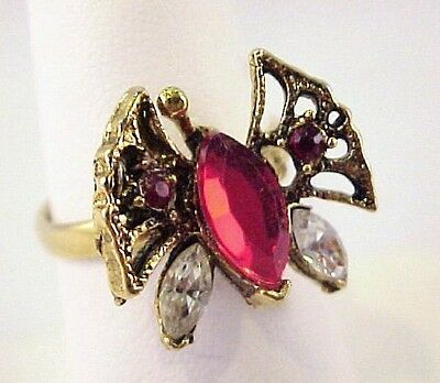 Vintage Red Rhinestone Butterfly Gold Tone Ring Ladies Adj Sz 6.75