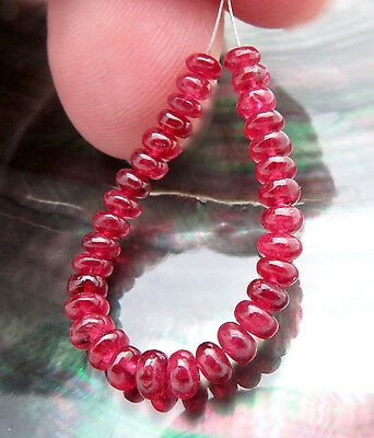 32 STUNNING AAAA+ BRIGHT CHERRY RED BURMESE SPINEL SMOOTH 3.3-3.6mm BEADS 7cts