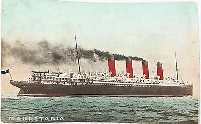 Rare Early 1900'S Australian Colour Postcard Of The Mauretania