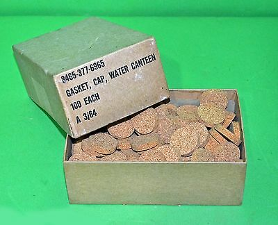 Box of US Army Vietnam Era Replacement Canteen Cap Cork Gaskets dated March 1964
