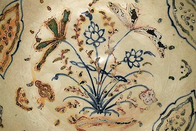 Hoi An - 15th Century - Under glazed Blue/Enameled Magnum Dish, Lotus Decoration