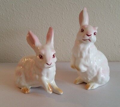 2 Vintage Lefton White Bunny Figurines