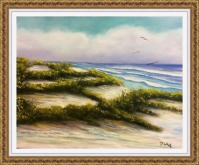 Florida Seascape And Sand Dunes Original Oil Painting   By Diana White