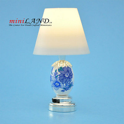 Silver Table Lamp SUPER bright battery LED LAMP Dollhouse miniature light on/off